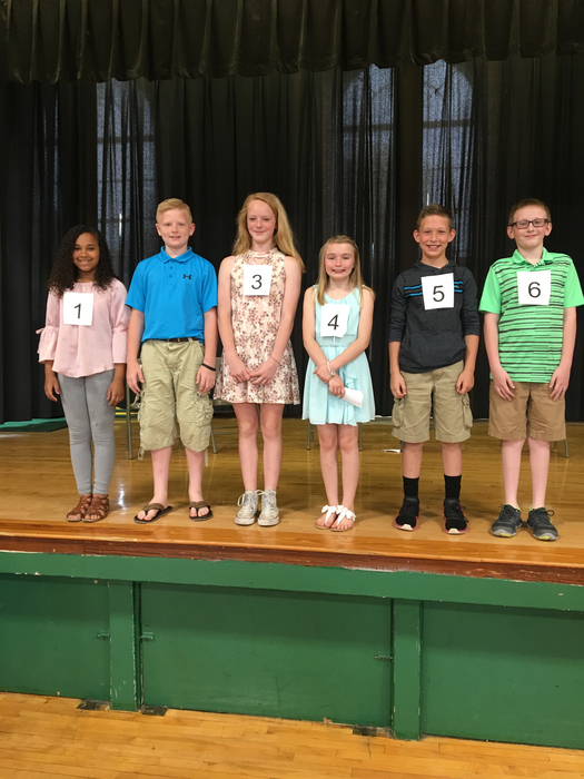 Six finalist in the fifth grade Modern Woodman speech contest.