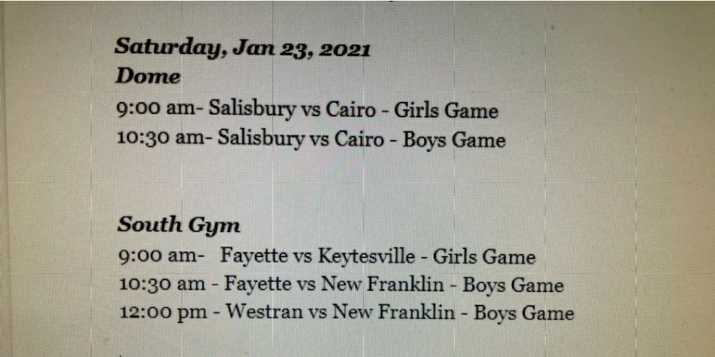 Updated schedule for JV games Saturday at Salisbury.