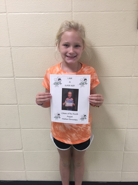 "Kaylen Johnson was, ""4C Student of Month"" for September! Kaylen is a very DETERMINED little girl!"