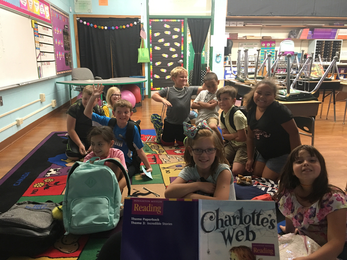 Reading Charlotte's Web before dismissal!