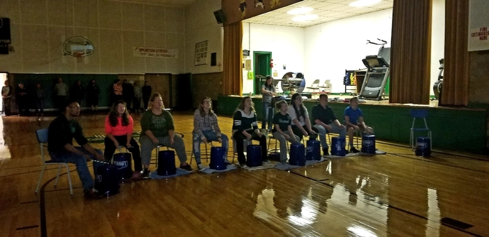 7th grade Music Appreciation bucket drumming performance