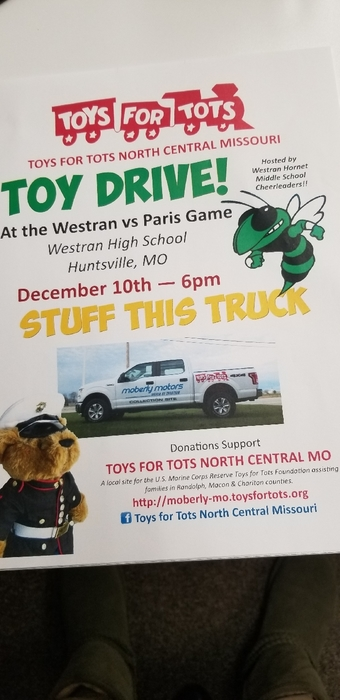 Toys for Tots scheduled for Dec 10th