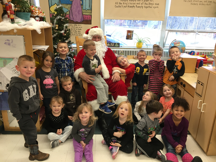Santa and the AM Preschool class