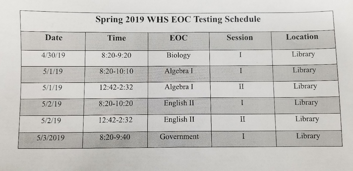 WHS EOC Testing Schedule