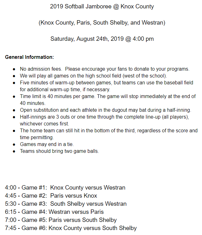 Softball Jamboree Information