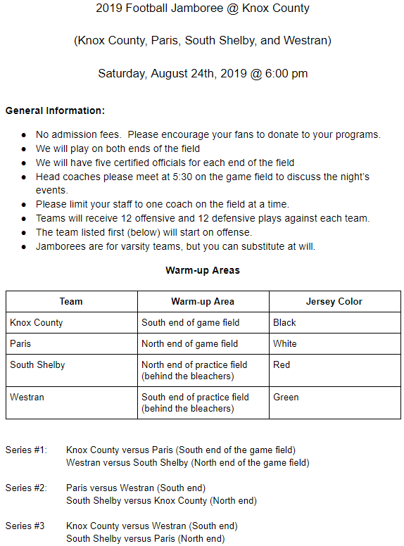 Football Jamboree Information