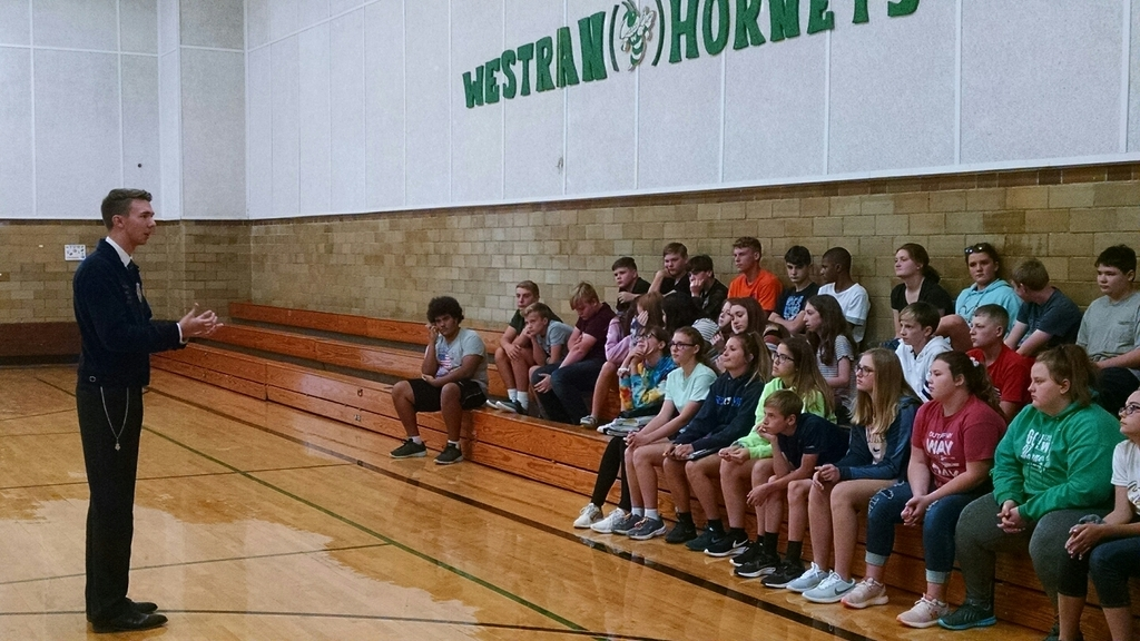Luke O'Leary visiting with Westran 8th grade