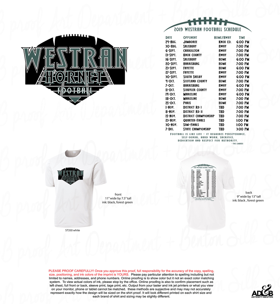 Westran Football T-Shirts available, $15 each in the HS Office!