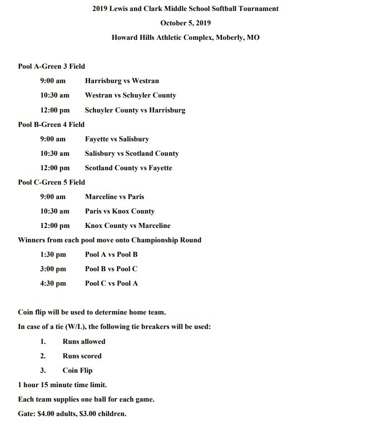 Information for the MS Softball L&C Conference Tournament this Saturday.