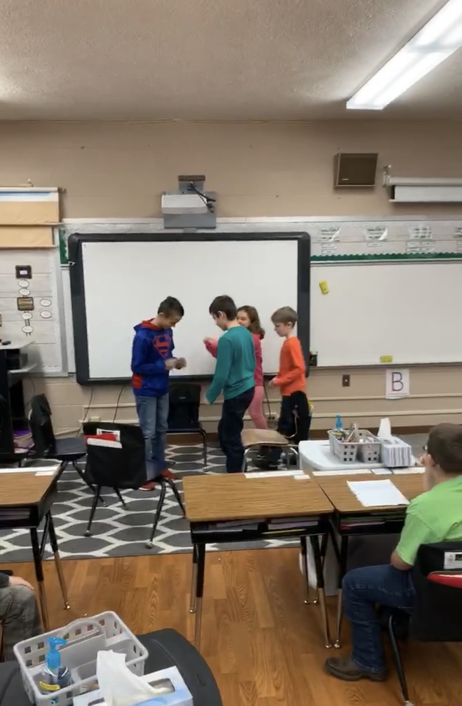 Kids presenting a drama they wrote themselves